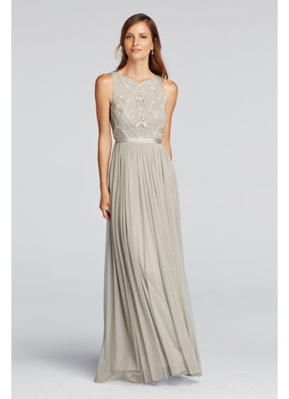 Long Grey Soft & Flowy Wonder by Jenny Packham Bridesmaid Dress