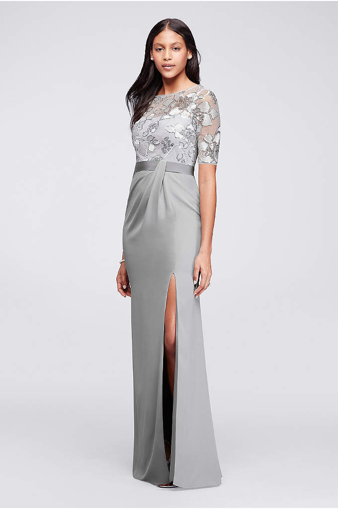 Long Sequined Dress with Sheer Overlay and Sleeves - Artfully sewn sequins form the elegant blooms on