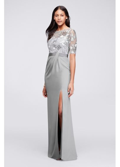 Long Sequined Dress with Sheer Overlay and Sleeves JP281713