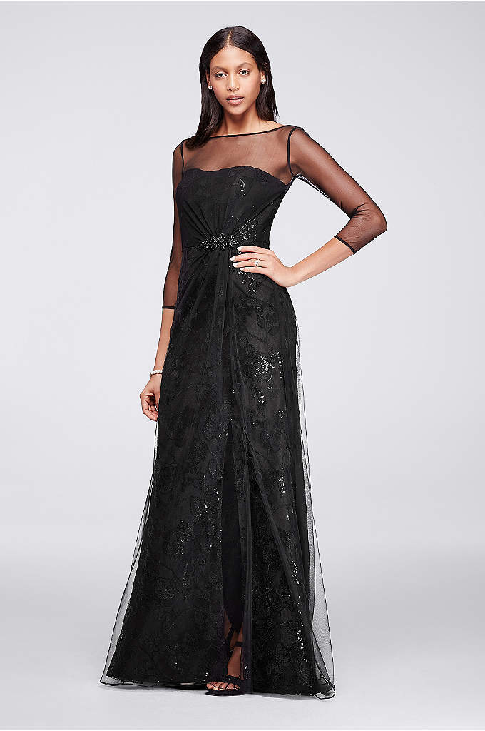 Long Crepe Dress With Sequin Flowers and Sleeves - This uniquely layered party dress captures the essence