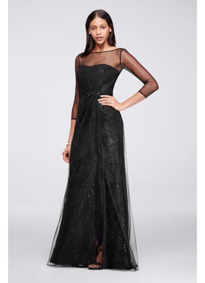 Long Black Soft Flowy Wonder By Jenny Packham Bridesmaid Dress