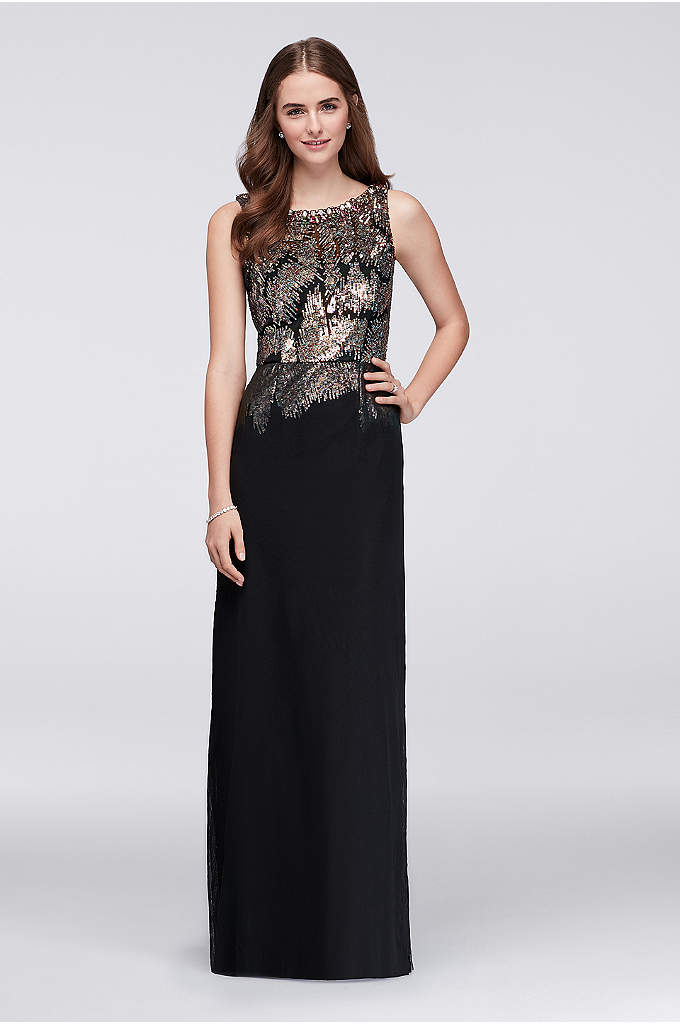 Sequin Bodice Gown with High Beaded Neckline - The top-to-bottom drama of this Wonder by Jenny
