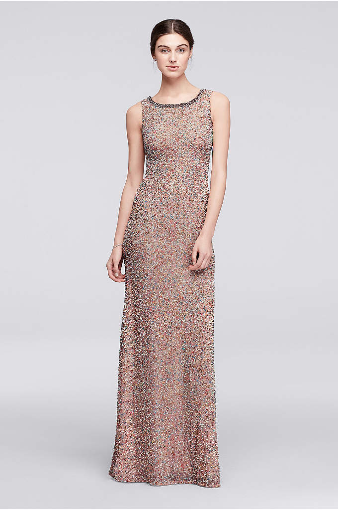 Multicolor Beaded Long Sleeveless Dress - Jenny Packham's designs combine unexpected details with modern