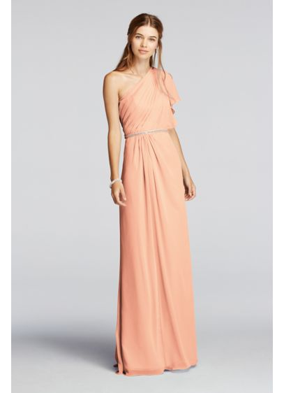 Long Orange Soft & Flowy Wonder by Jenny Packham Bridesmaid Dress