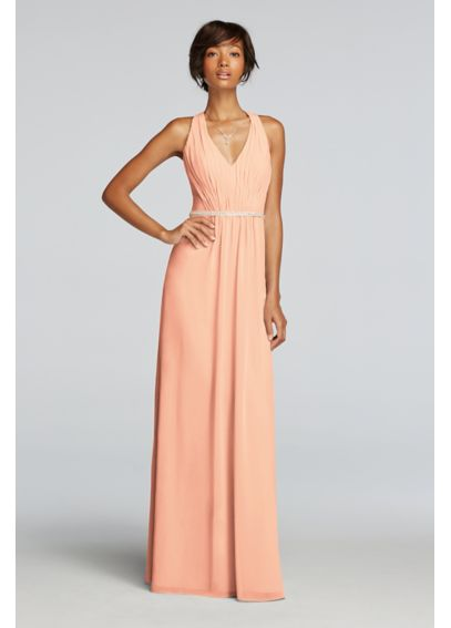 Chiffon Dress with V-neck and Criss Cross Back JP291638