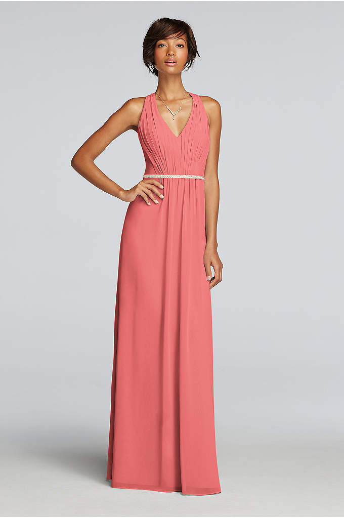 Chiffon Dress with V-neck and Criss Cross Back - Float from aisle to dance floor in this