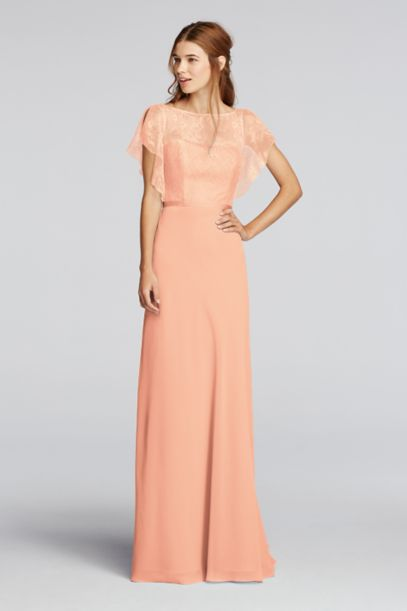 Chiffon Dress with Cascading Lace Sleeves - Davids Bridal