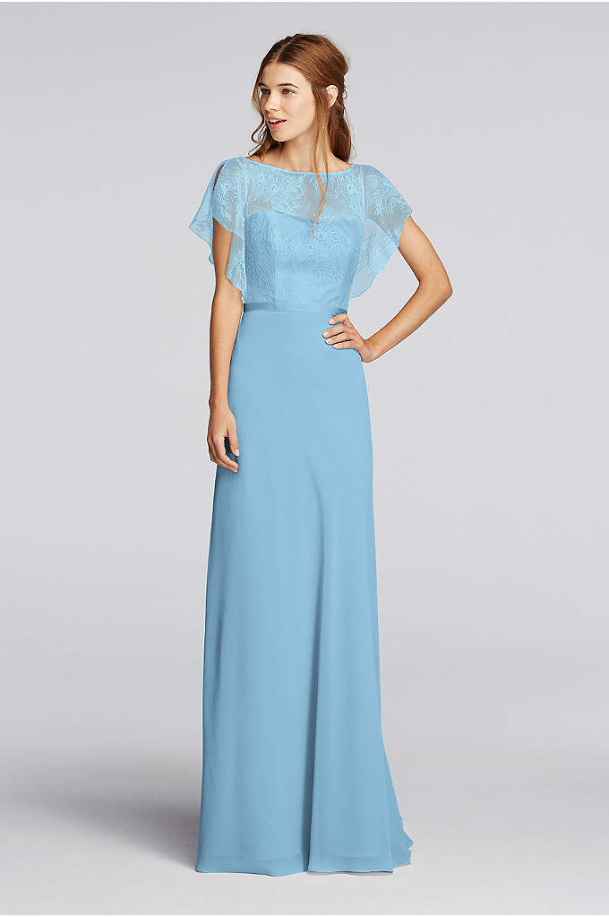 Chiffon Dress with Cascading Lace Sleeves - A delicate Chantilly lace flutter-sleeve bodice is paired