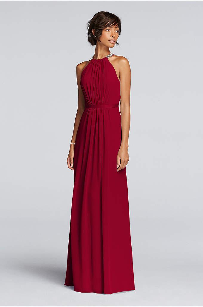 Long Sheer Chiffon Dress with Cutaway Details