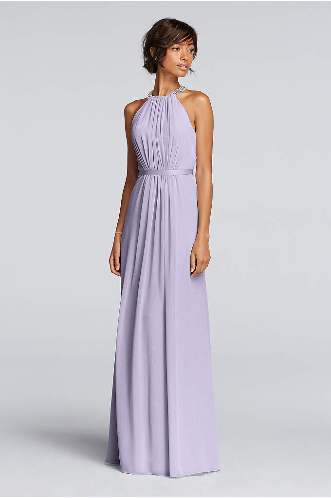 Long Strapless Chiffon Dress and Pleated Bodice - Davids Bridal