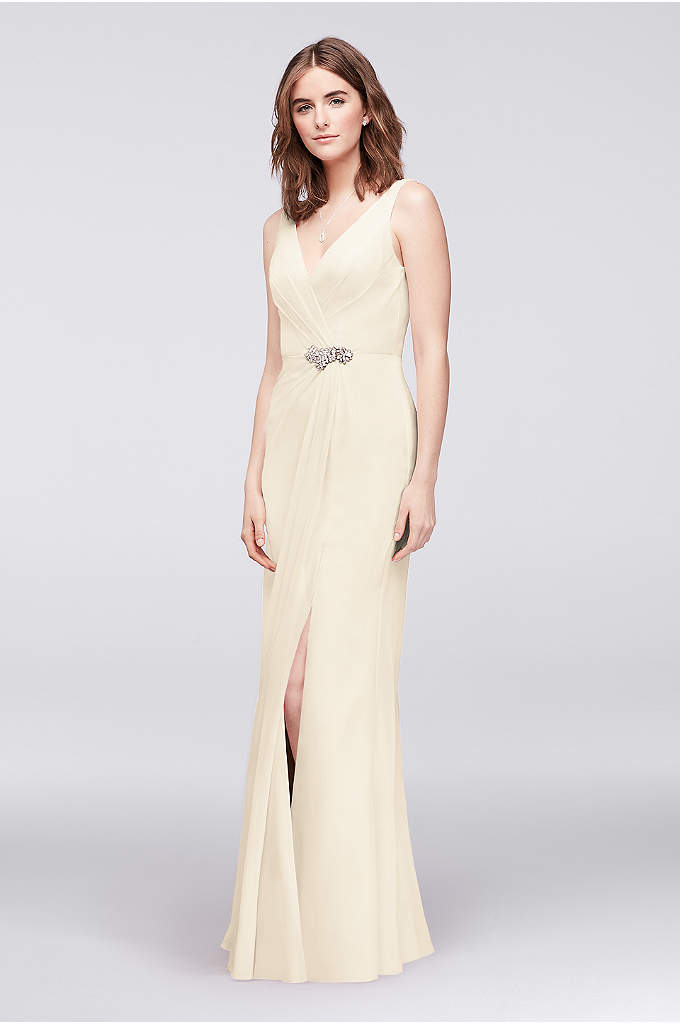 Faux-Wrap Chiffon Gown with Crystal Detail - Draped pleating and a slit skirt create the