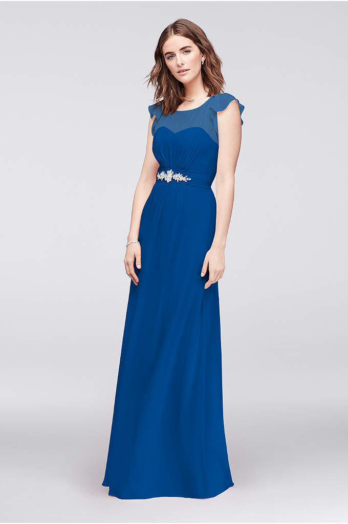 Flutter-Sleeve Chiffon Gown with Crystal Detail - The soft and simple silhouette of this chiffon