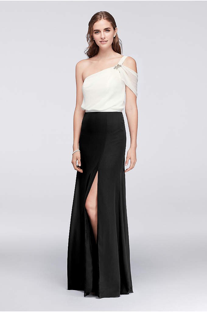 Draped Chiffon One-Shoulder Dress with Beading - Classic and elegant, a one-shoulder gown always catches