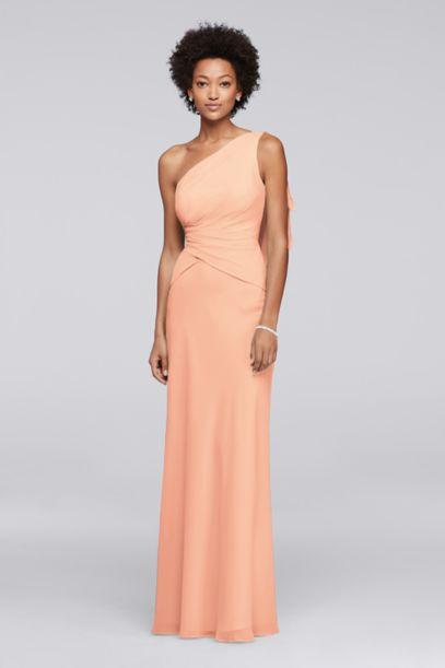 One Shoulder Chiffon Long Bridesmaid Dress - Davids Bridal