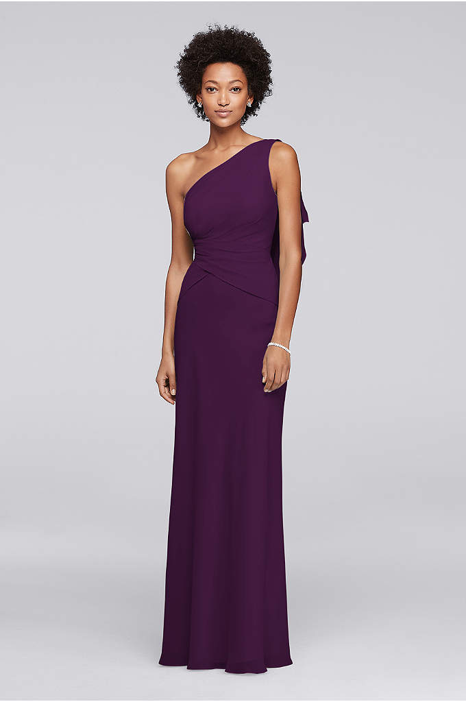 One Shoulder Chiffon Long Bridesmaid Dress - This one-shoulder chiffon bridesmaid dress is designed to