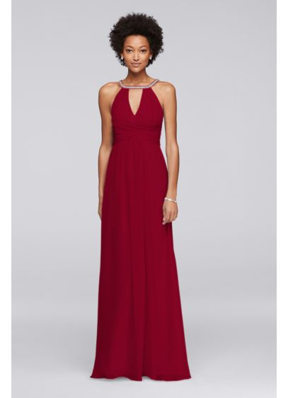 Long Red Soft & Flowy Wonder by Jenny Packham Bridesmaid Dress