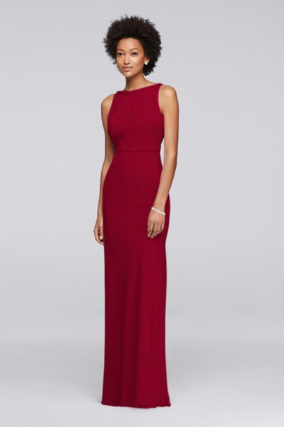 Long Chiffon Bridesmaid Dress with Beading | David's Bridal