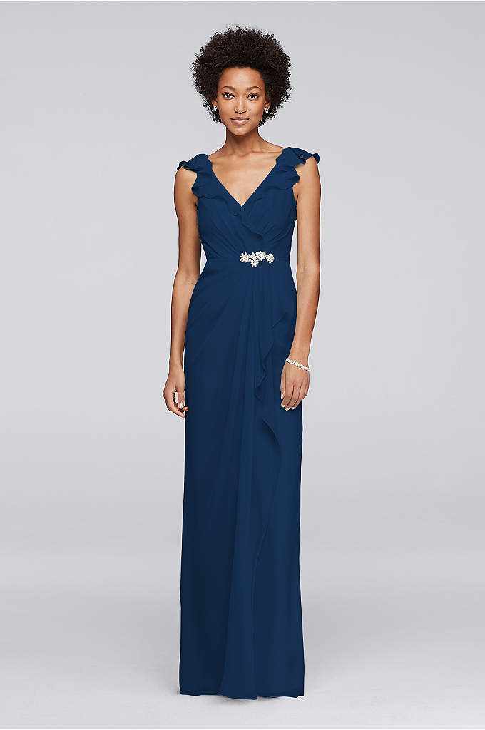 Long Dress with Gathered Bodice and Beaded Brooch - The fluttering cap sleeves framing the plunging V-neckline
