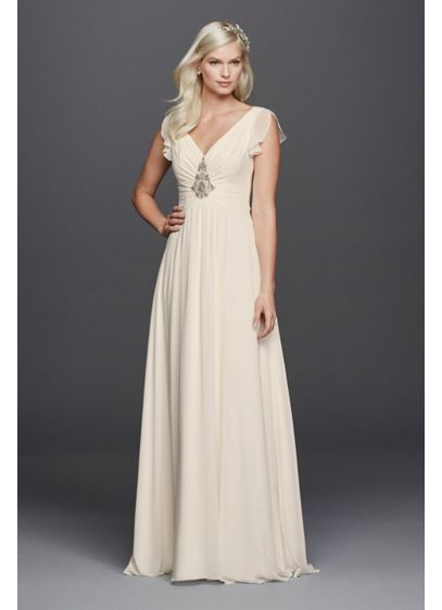 V Neck Flutter Sleeve Embellished Wedding Dress David S