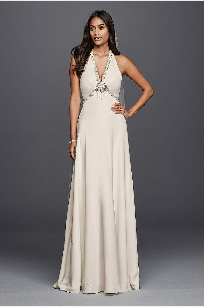 Deep V-Neck Halter Wedding Dress - Simple yet delicately detailed, this crepe sheath wedding