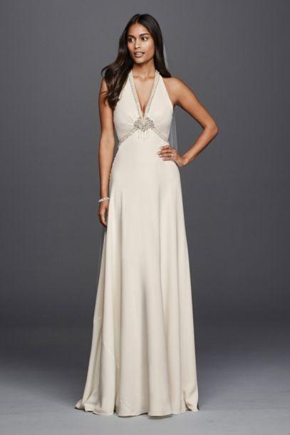 Deep V Neck Halter Wedding Dress David S Bridal