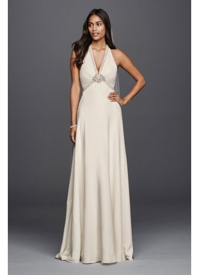 Deep V Neck Halter Wedding Dress David 39 S Bridal