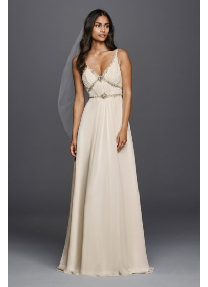 V neck chiffon wedding dress with streamer detail davids for How to start a wedding dress shop