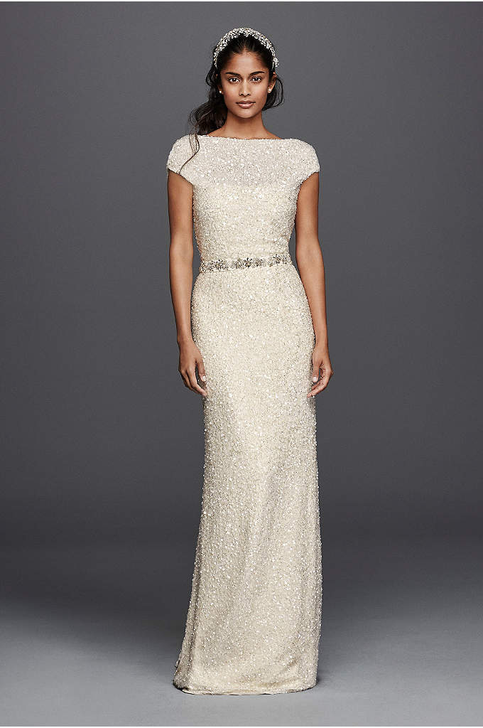 Hand Beaded Sheath Cap Sleeve Wedding Dress - You will be radiating vintage vibes in this