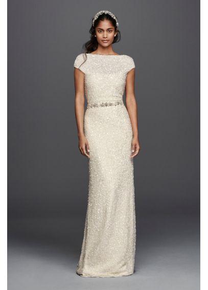 Hand beaded sheath cap sleeve wedding dress davids bridal for Cap sleeve sheath wedding dress
