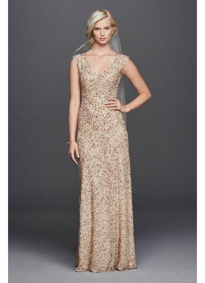 V neck hand beaded sheath wedding dress david 39 s bridal for Wedding dresses with gold beading