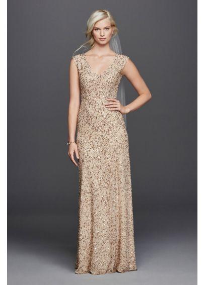 V neck hand beaded sheath wedding dress davids bridal for Gold beaded wedding dress