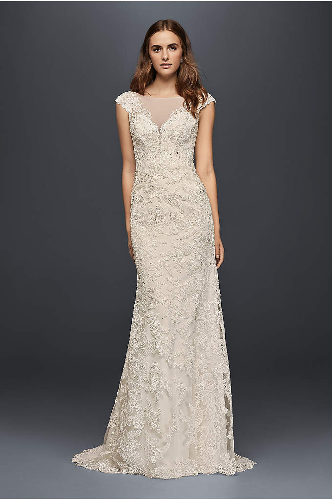 Illusion Lace Sheath Wedding Dress - Hand-crafted appliques of corded floral lace bloom in
