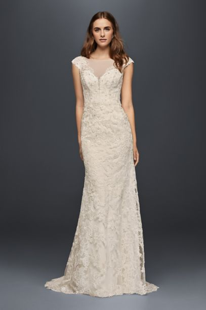 Illusion Lace Sheath Wedding Dress | David's Bridal