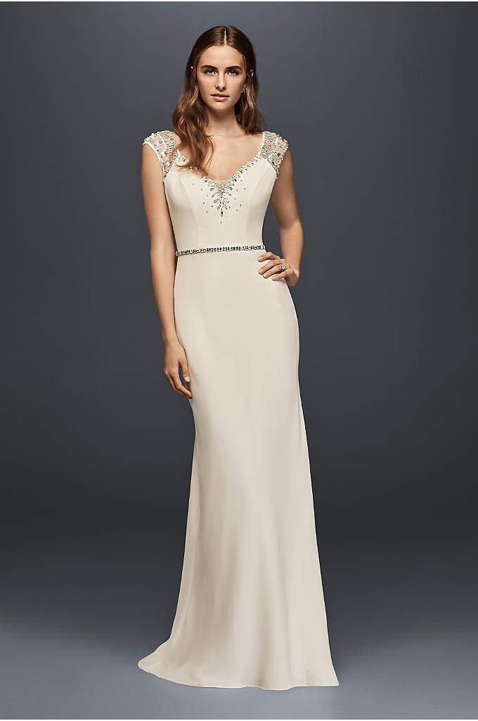 Cap Sleeve Beaded Crepe Sheath Wedding Dress - Inspired by an original Jenny Packham couture gown,