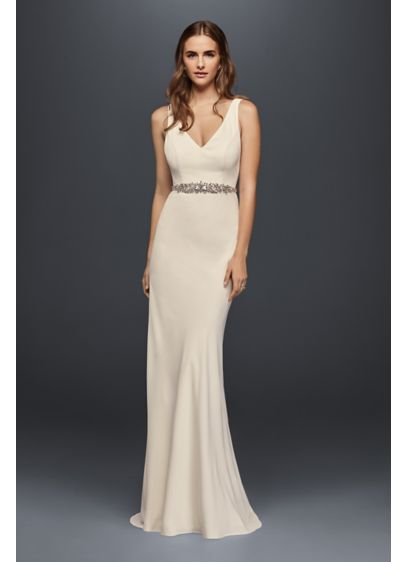 Jeweled crepe sheath wedding dress with low back david 39 s for No back wedding dress