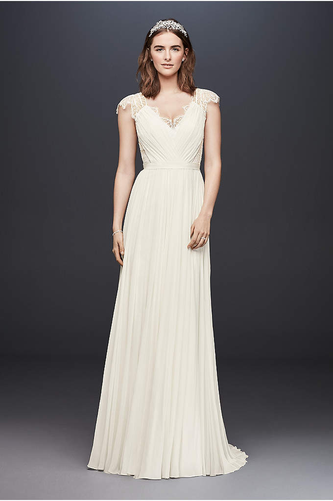 Chiffon and Chantilly Lace Wedding Dress - An ethereal wedding dress inspired by an evening