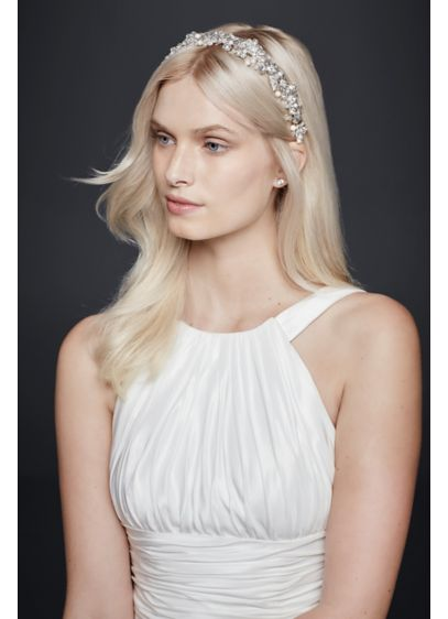 Pearl and Crystal Floral Headband - Wedding Accessories