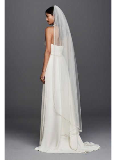 One Tier Mid Length Veil with Embellished Edge - Wedding Accessories