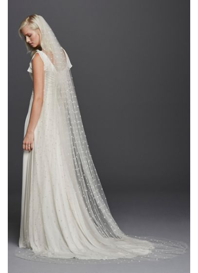 All Over Beaded Cathedral Length Veil - Wedding Accessories