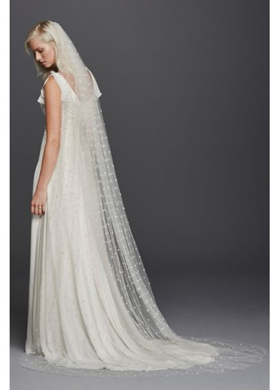 All Over Beaded Cathedral Length Veil JP45V02