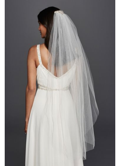 Mid Length Veil with Embellished Comb - Wedding Accessories