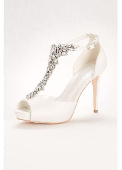 Crystal T Strap Peep Toe High Heel Davids Bridal