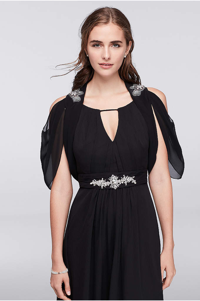 Sleeveless Chiffon Shrug with Jeweled Details - Add a dramatic flourish to your big event
