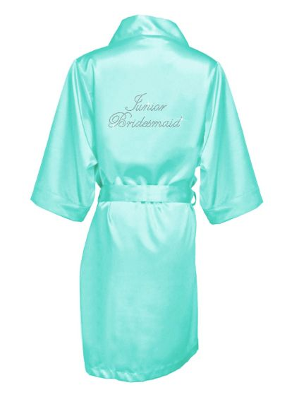 Rhinestone Junior Bridesmaid Satin Robe - Wedding Gifts & Decorations