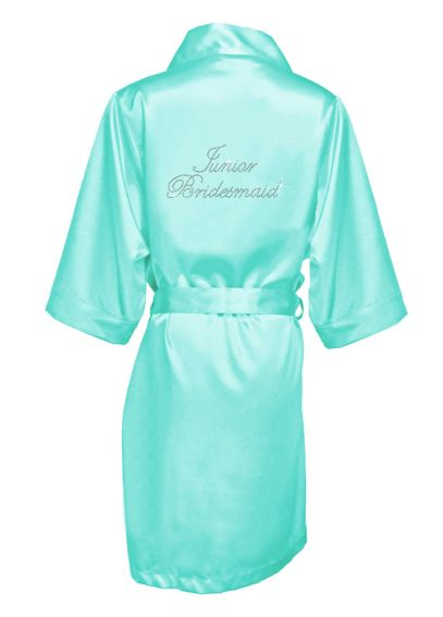 Rhinestone Junior Bridesmaid Satin Robe JRBMRB