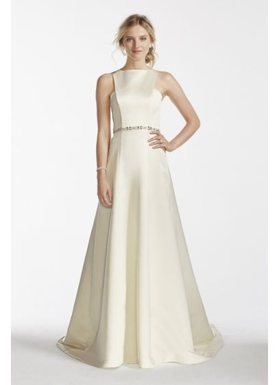 Long A-Line Simple Wedding Dress - Jewel