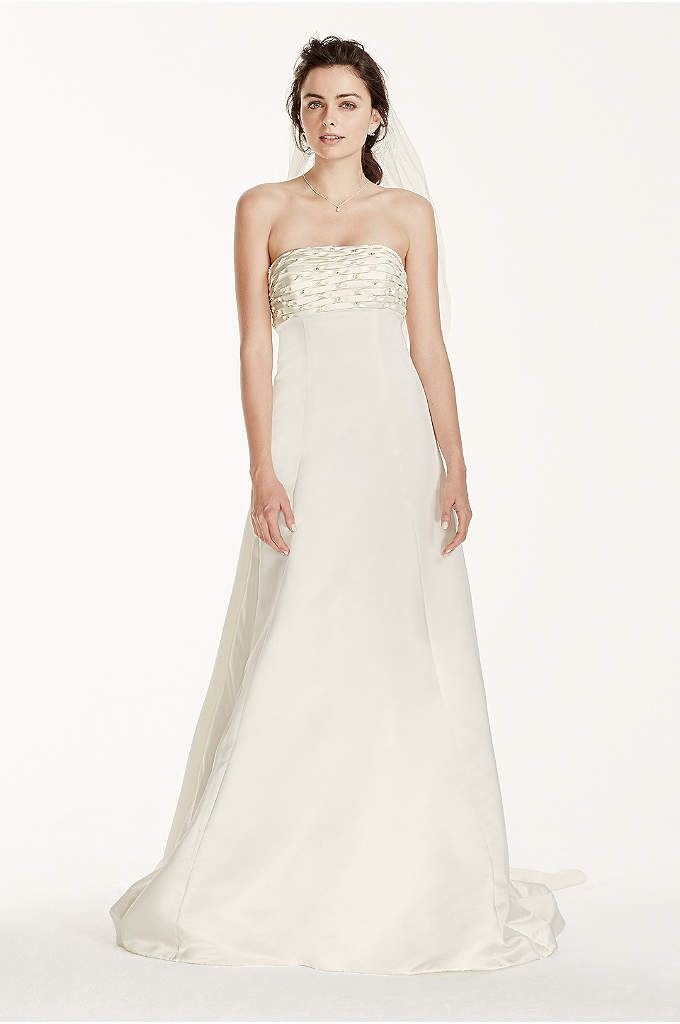 Jewel A-line Wedding Dress with Watteau Train - Be extraordinary in this strapless A-line gown with