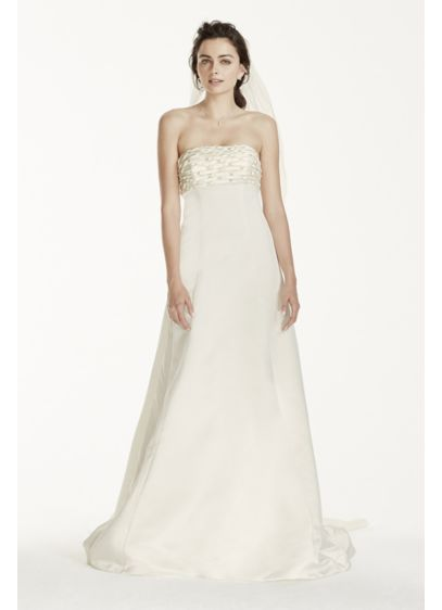 Jewel a line wedding dress with watteau train davids bridal for How to start a wedding dress shop