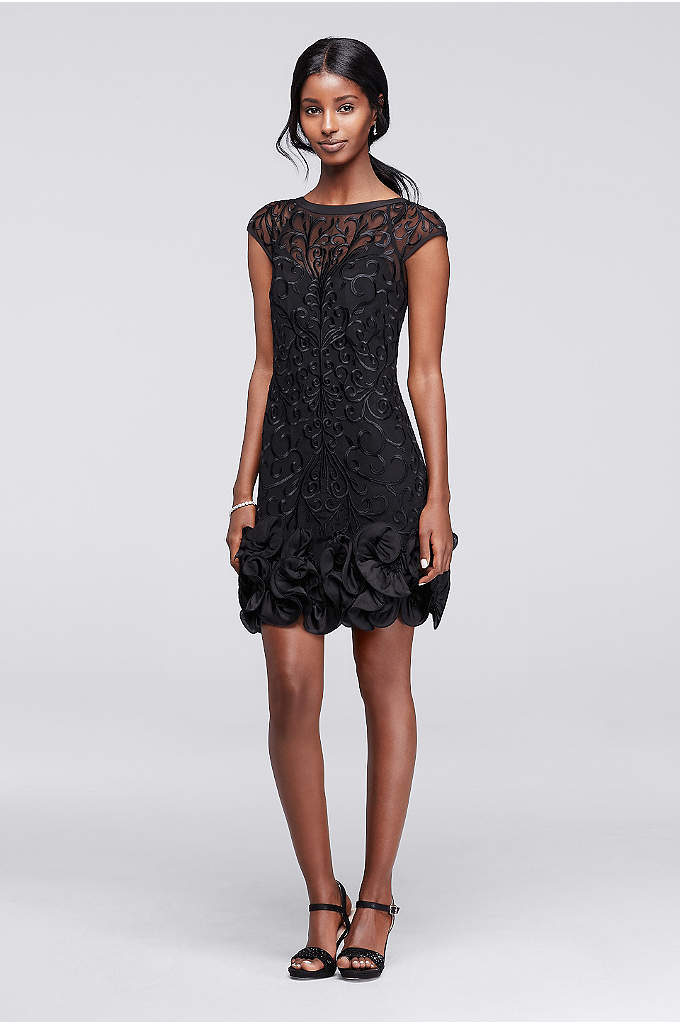 Lace Party Dress with Ruffled Hem and Cap Sleeves