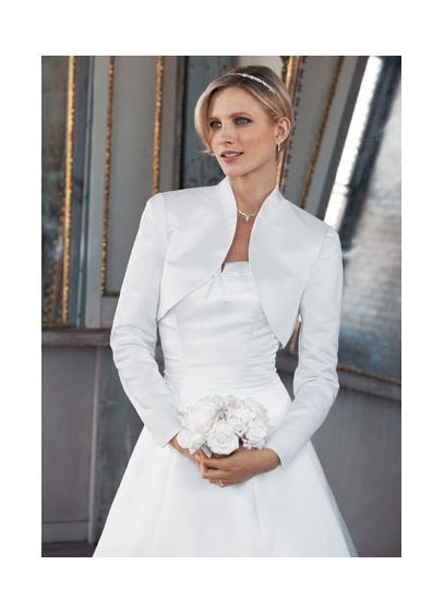 Long Sleeve Satin Bolero Jacket - Wedding Accessories